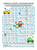 Road traffic codebreaker word puzzle. Codebreaker (or codeword, or code cracker) word puzzle, road traffic themed, answer included Stock Photos