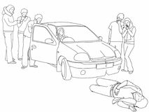 Road traffic collision - first aidertalks to driver and calls for help. A black and white line drawing of a road traffic collision where a car has knocked down a Royalty Free Stock Images