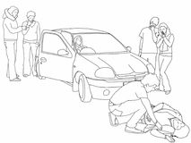 Road traffic collision - first aider, highlighted in red t-shirt, helps injured pedestrian. A black and white line drawing of a road traffic collision where a Stock Images