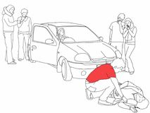 Road traffic collision - first aider, highlighted in red t-shirt, helps injured pedestrian. A black and white line drawing of a road traffic collision where a Stock Photography