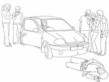 Road traffic collision - injured pedestrian and first aider helping onlookers. A black and white line drawing of a road traffic collision where a car has knocked Royalty Free Stock Photo