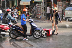 Road traffic collision in the rain in Ho Chi Minh City Royalty Free Stock Photography