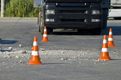 Road traffic cone on accident site Stock Photo