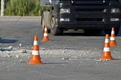 Road traffic cone on accident site Royalty Free Stock Images