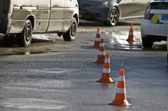 Road traffic cone on accident site. Road traffic cones on accident site Stock Photography