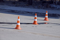 Road traffic cone on accident site. Road traffic cones on accident site Royalty Free Stock Photos
