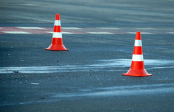 Road traffic cone on accident site. Road traffic cones on accident site Stock Images