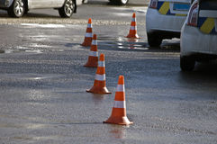 Road traffic cone on accident site. Road traffic cones on accident site Royalty Free Stock Image