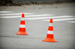 Road traffic cone on accident site. Road traffic cones on accident site Royalty Free Stock Photo