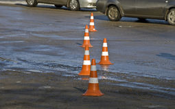 Road traffic cone on accident site. Road traffic cones on accident site Stock Photo