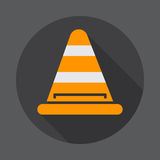 Road traffic cone flat icon. Round colorful button, circular vector sign with long shadow effect. Flat style design. Royalty Free Stock Images