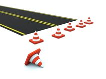 Road with traffic cones Stock Photo