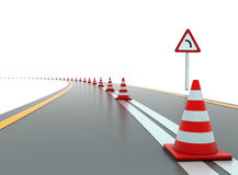 Road with traffic cones and sign Stock Photo
