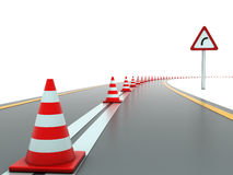 Road with traffic cones and sign right Royalty Free Stock Photography