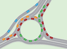 Road Traffic Congestion. An illustration of road traffic congestion in an aerial view Stock Images