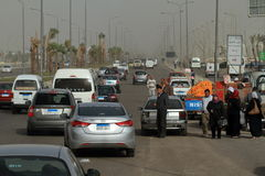 Road traffic in Egypt Stock Image