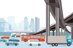 Road traffic and elevated train Royalty Free Stock Photo