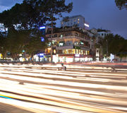 Road Traffic at evening in Saigon, Vietnam. Stock Photography
