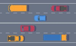 Road traffic. Free flow of machines on a multi-lane road. Different car on highway. Top view vector illustration royalty free illustration