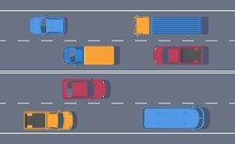 Road traffic. Free flow of machines on a multi-lane road. Different car on highway. Top view vector illustration stock illustration
