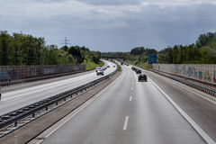 Road traffic on a german autobahn Stock Photo
