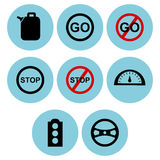 Road and traffic icon designs Stock Images