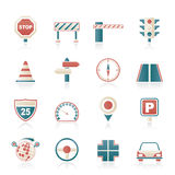 Road and Traffic Icons Stock Images