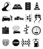 Road traffic icons set. Road traffic  icons set in black Stock Images