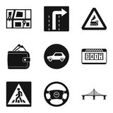 Road traffic icons set, simple style. Road traffic icons set. Simple set of 9 road traffic vector icons for web isolated on white background Royalty Free Stock Photos