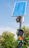Road traffic light and solar panel Royalty Free Stock Images
