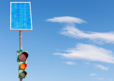 Road traffic light and solar panel Stock Image