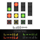 Road Traffic Light Vector. Realistic LED Panel. Sequence Lights Red, Yellow, Green. Time, Turn, Go, Wait, Stop Signals Stock Image