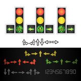 Road Traffic Light Vector. Realistic LED Panel. Sequence Lights Red, Yellow, Green. Time, Turn, Go, Wait, Stop Signals Royalty Free Stock Photos
