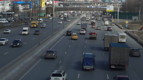 Road traffic on Moscow road ring. Day traffic along Moscow road ring. Time lapse stock footage