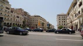 Road traffic near Dikastirion Square in Thessaloniki, Greece stock video