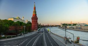 Road traffic near the Kremlin at sunset stock footage