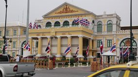 Road traffic near Thailand Ministry of defence in Bangkok stock video footage