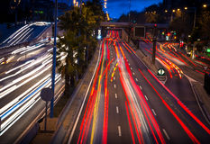 Road traffic at night Stock Images
