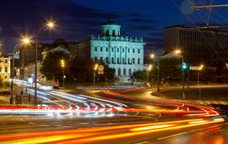 Road traffic and the night view of Pashkov House Stock Photography
