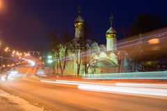 Road traffic in the old town. Sergiev Posad, the views of the Holy Trinity St. Sergius Lavra. Russia stock photo