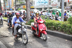 Road traffic in Saigon Stock Images