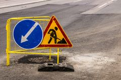 On the road. Traffic sign on the road Royalty Free Stock Image