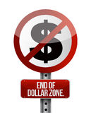 Road traffic sign with a dollar zone end. Concept Stock Photo