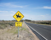 Horse and Rider Road Sign, Australia. Royalty Free Stock Photography