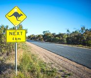 Yellow Road Sign, Kangaroos Ahead. A yellow road sign in Australia warns motorists that kangaroos may be a danger on the road in the next 4 kilometers royalty free stock images