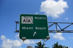 Road traffic sign in Miami royalty free stock photography