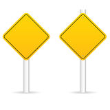Road traffic sign in yellow empty set illustration. On white background Royalty Free Stock Photo