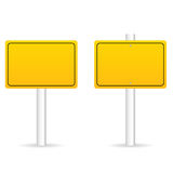 Road traffic sign in yellow set illustration. On white background Royalty Free Stock Photography