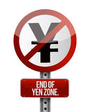 Road traffic sign with a yen zone end Stock Images