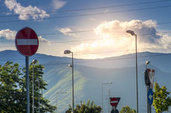 Road traffic. Signals in clody sky Stock Image